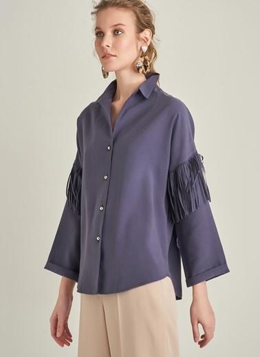 NGSTYLE Püskül Detaylı Tensel Gömlek Lacivert